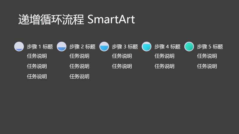 递增循环流程 SmartArt 幻灯片(黑底灰色和蓝色),宽屏