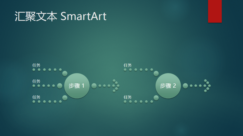 流程图(汇聚文本,绿色气泡设计,宽屏)