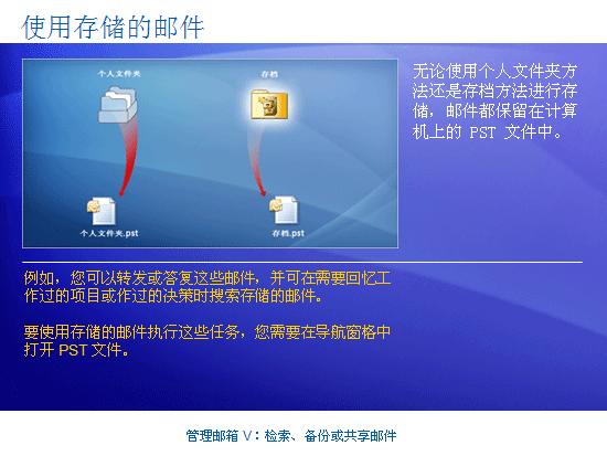 培训演示文稿:Outlook 2007 - 管理邮箱 V:检索、备份或共享邮件