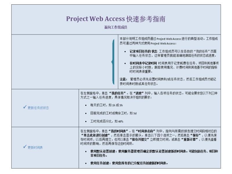 面向工作组成员的 Project Web Access 快速参考指南