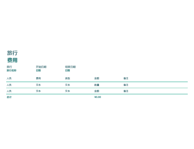 旅行费用跟踪记录表