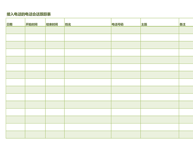 电话会话跟踪表(用于接入和呼出电话)