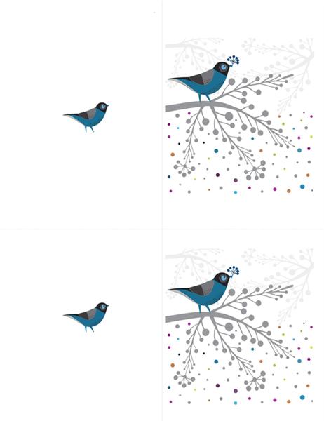 鸟和浆果便签卡