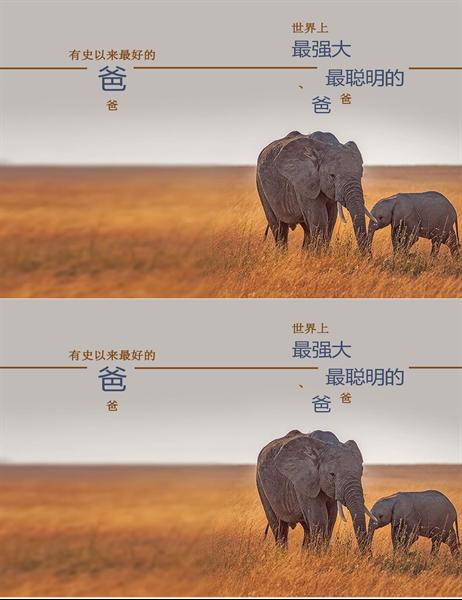 聪明的大象图案父亲节贺卡