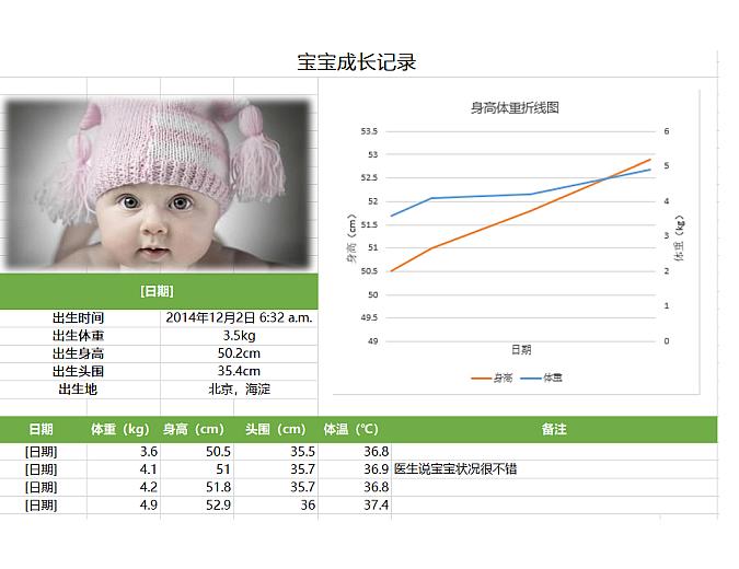 宝宝成长记录-Excel图表模板