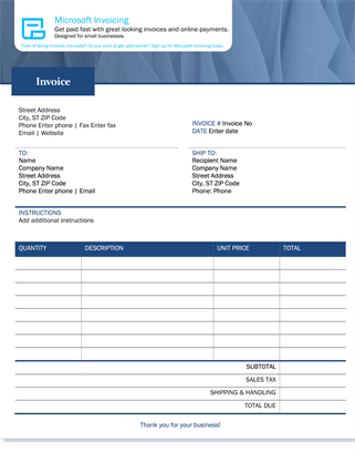 采用 Microsoft Invoicing 的标准销售发票