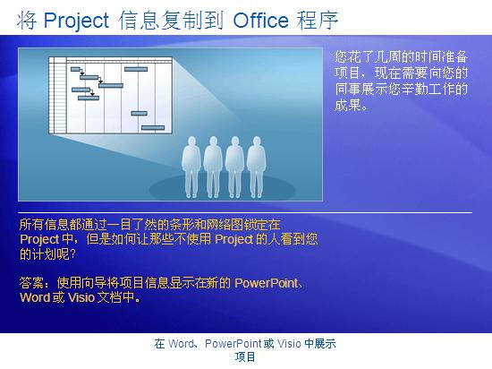 培训演示文稿:Project 2007 - 在 Word、PowerPoint 或 Visio 中展示项目