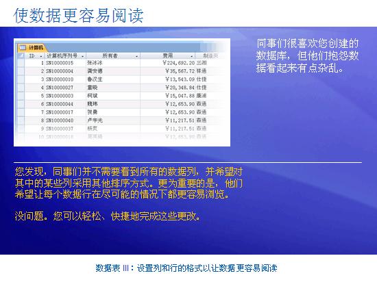 培训演示文稿:Access 2007 - 数据表 III:设置列与行的格式,使数据更易于查看