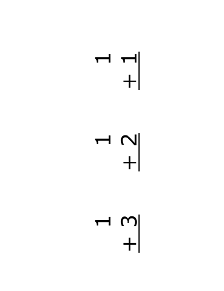 加法教學卡片 (正面:等式;使用 Avery 5388)