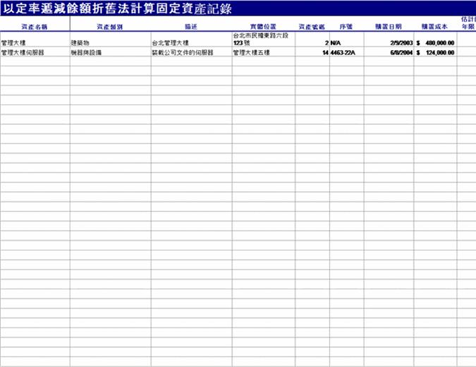 包含固定递减折旧计算的固定资产记录