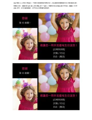 生日聚会邀请明信片