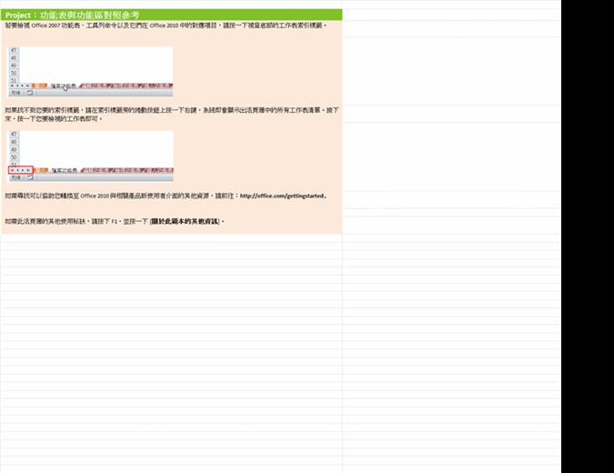 Project 2010:功能區功能表參考活頁簿