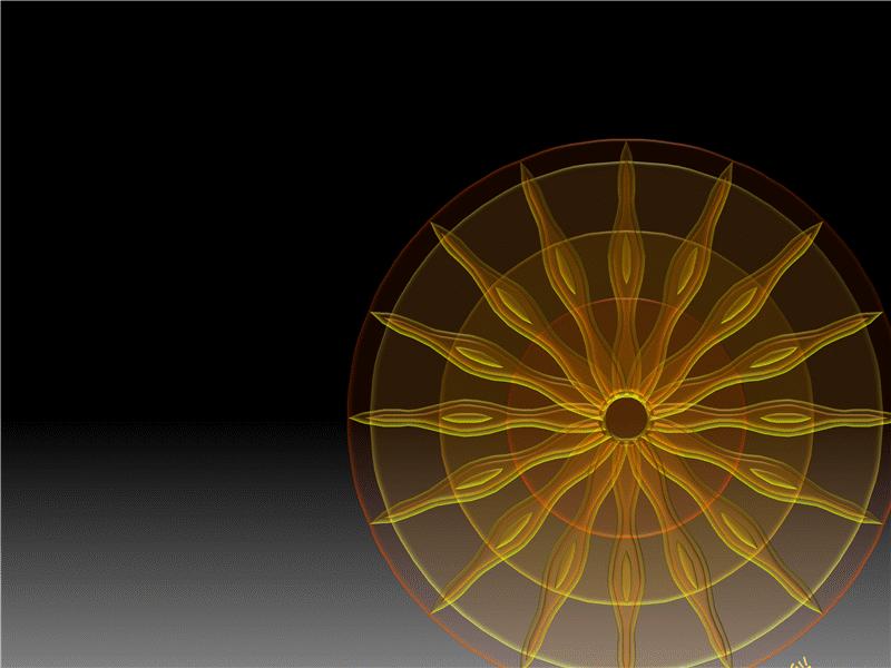 太陽與旋轉文字的動畫