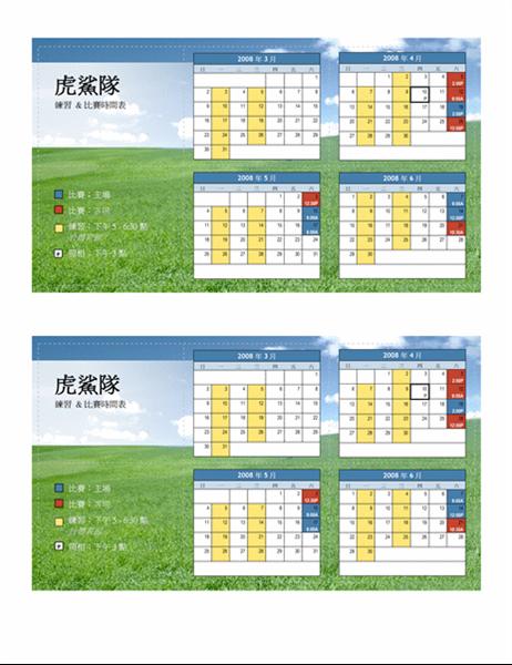 2008 年青少年體育賽程表 (春季)