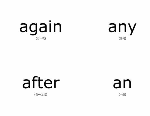 單字教學卡片 (Dolch 兒童常見字 - 一年級;使用 Avery 3263、8387)