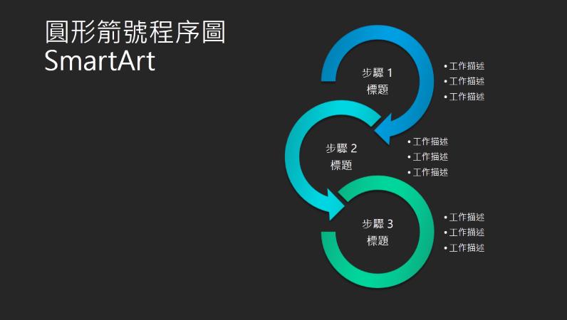 圓形箭號流程圖 SmartArt 投影片 (黑色背景上的藍綠色),寬螢幕