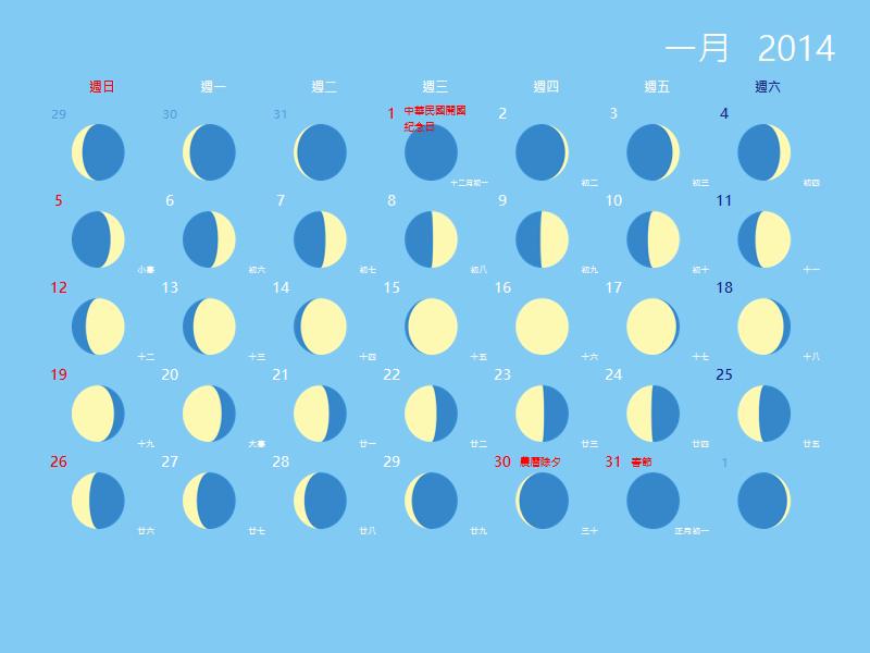 2014 年農曆月蝕月曆 (提供農曆日期)