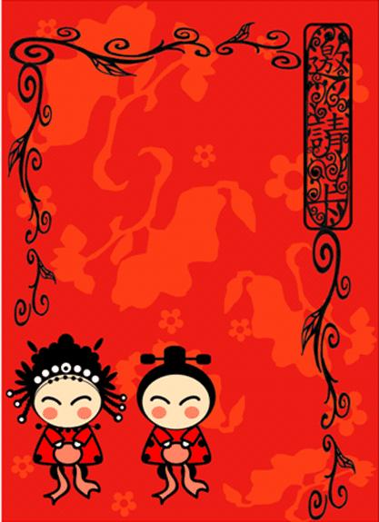 婚禮-邀請卡-紅綵(綵球)