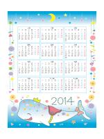 2014 年兒童年曆 (可愛白鯨設計)
