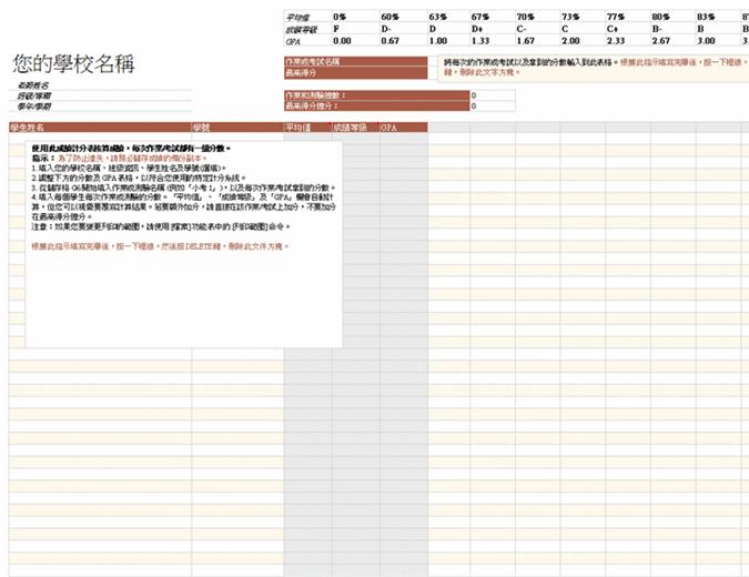 成绩簿(以分数为基础)