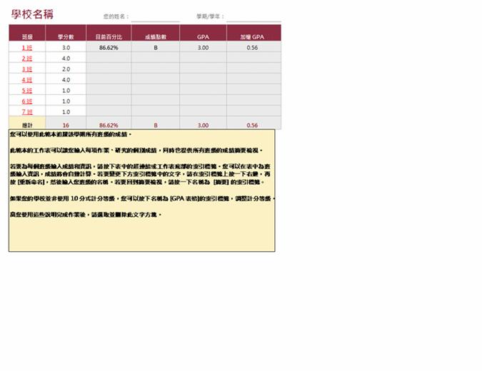 分数记录表