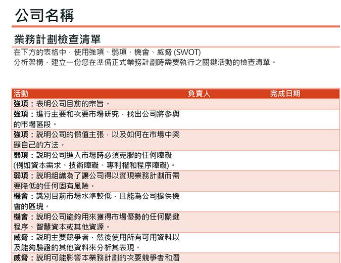 结合 SWOT 分析法的商业规划清单