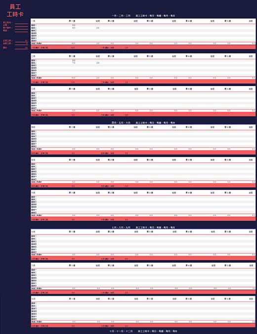 员工考勤记录(周、月、年)
