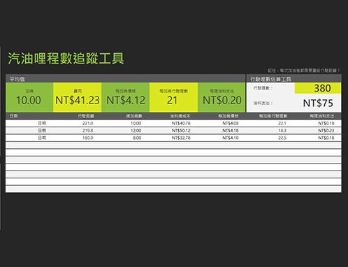 里程油耗跟踪表