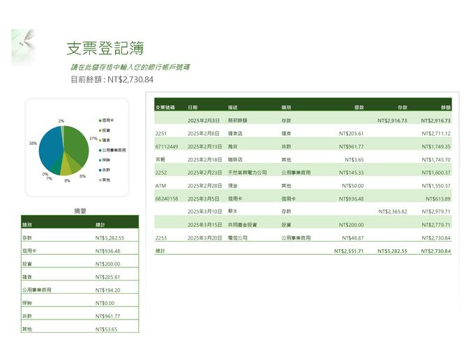 含有圖表的支票登記簿