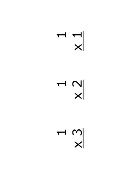 乘法教學卡片 (正面:等式;使用 Avery 5388)
