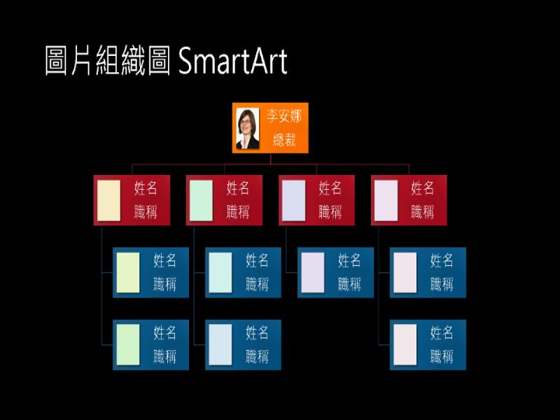 圖片組織圖投影片 (黑色背景上的多重色彩),寬螢幕