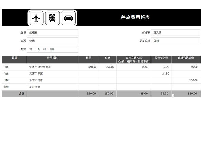 含里程數記錄的旅行支出報表