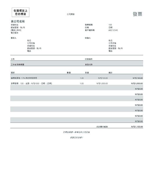 含財務費用的發票 (灰色)