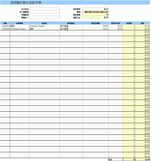 里程數記錄及退款表單