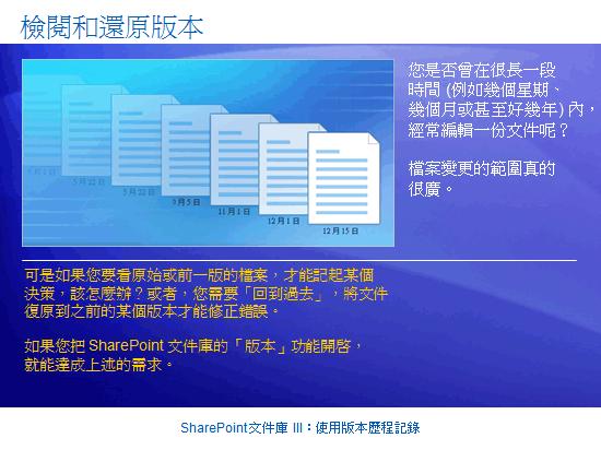 訓練簡報:SharePoint Server 2007—文件庫 III:使用版本歷程記錄