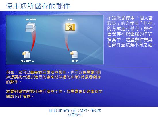 訓練簡報:Outlook 2007—管理您的信箱 (五):擷取、備份或分享郵件