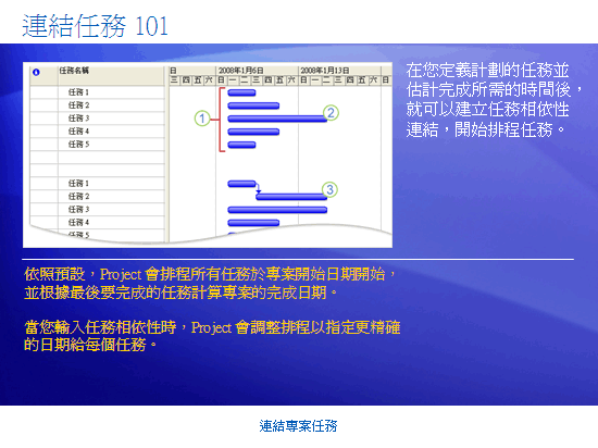 訓練簡報:Project 2007—連結專案任務