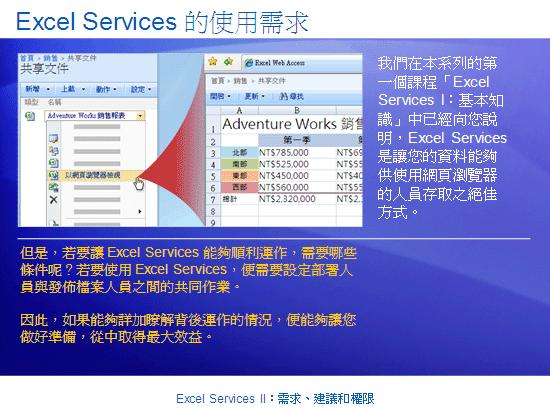 訓練簡報:SharePoint Server 2007 - Excel Services II:需求、建議和權限