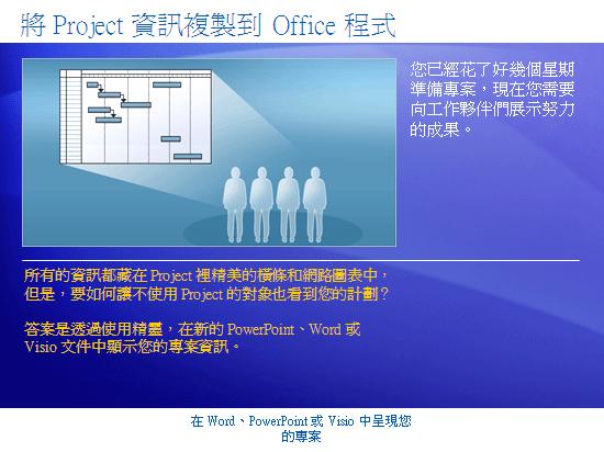 訓練簡報:Project 2007—在 Word、PowerPoint 或 Visio 中呈現您的專案