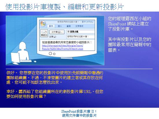訓練簡報:SharePoint Server 2007—投影片庫 II:使用文件庫中的投影片