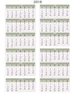 2016-2025 年行事曆 (週一至週日)